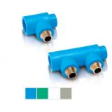 Одинарный/ двойной универсальный наборный коллектор из ППР внутренний/ наружный с резьбовыми соединительными головками с наружной резьбой Тип 1 (Межосевое расстояние 57 мм)
